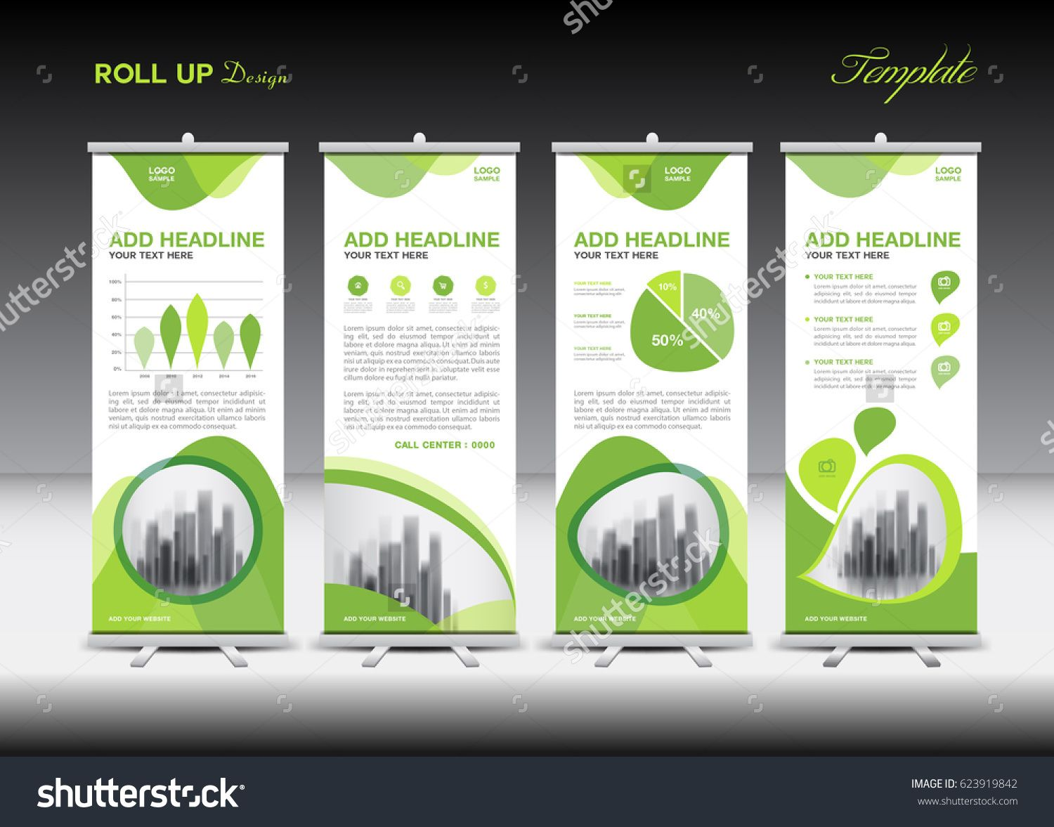 Green roll up business brochure flyer banner design vertical template - Green Roll Up Banner Template And Infographics Stand Design Advertisement Pull Up