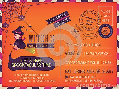 Happy Halloween Party Vintage Postcard Invitation Background Design Layout