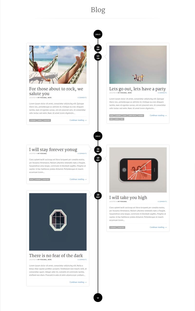 Simple Personal Portfolio WordPress Theme UX UI Web Design - Timeline website template