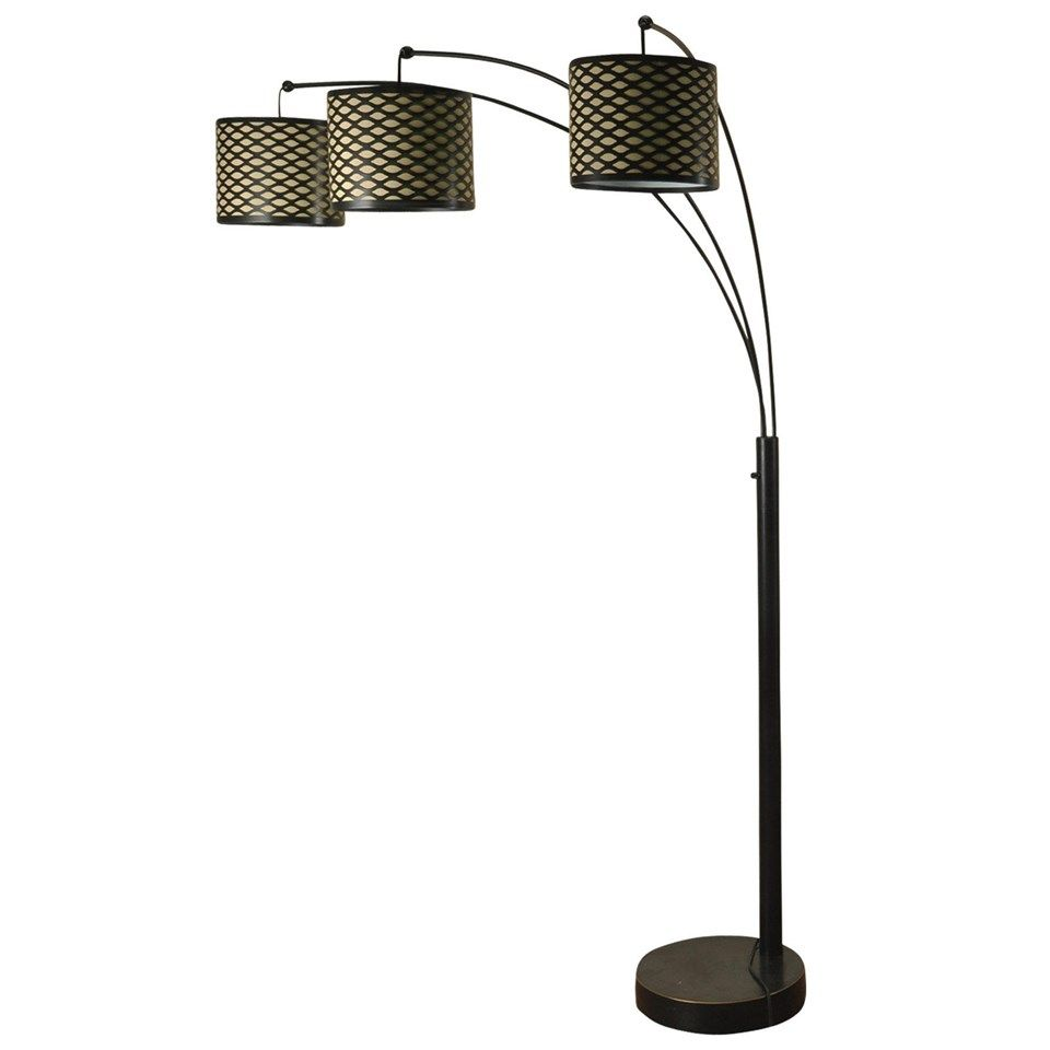 madison bronze three arm arch floor lamp with metal shades by style craft