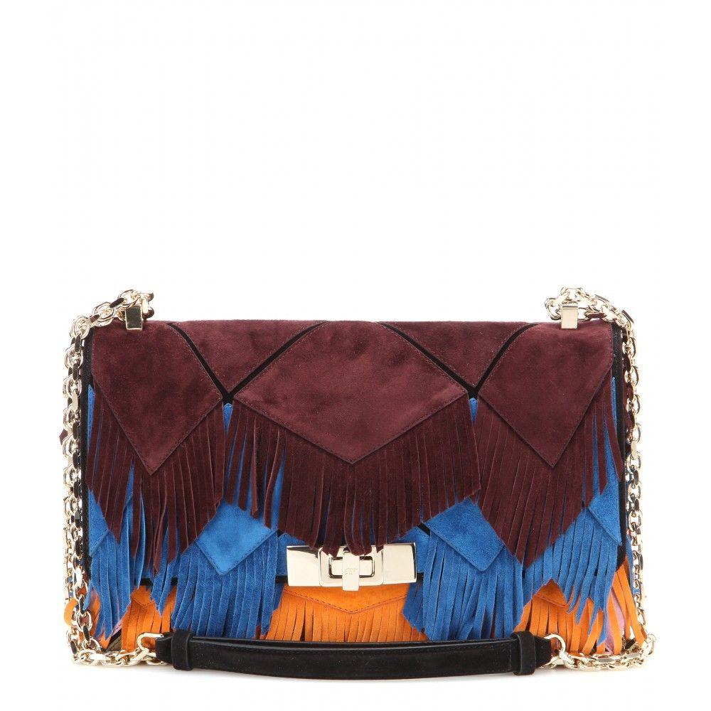 0e7ecf22e3cf Roger Vivier - Prismick fringe-embellished suede shoulder bag