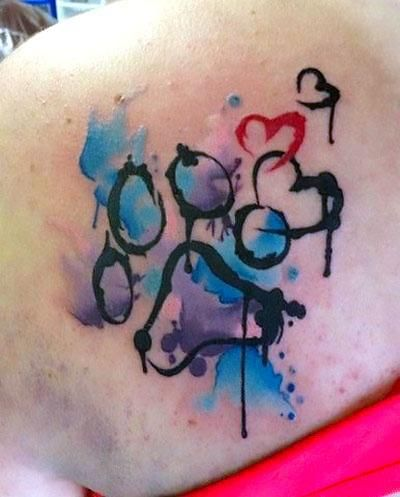 Colorful Dog Paw Print Tattoo Idea Dog Tattoos Print Tattoos