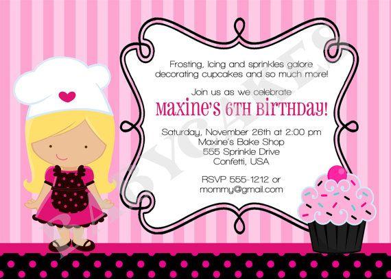 cupcake decorating party birthday invitation by jcbabycakes 12 00