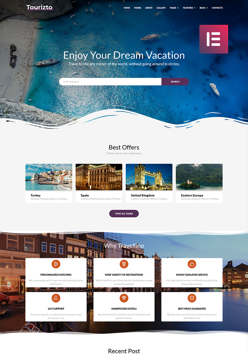 Tourizto Travel Company Elementor Wordpress Theme 70827 In 2020 Travel Website Design Wordpress Website Design Web Design Tips