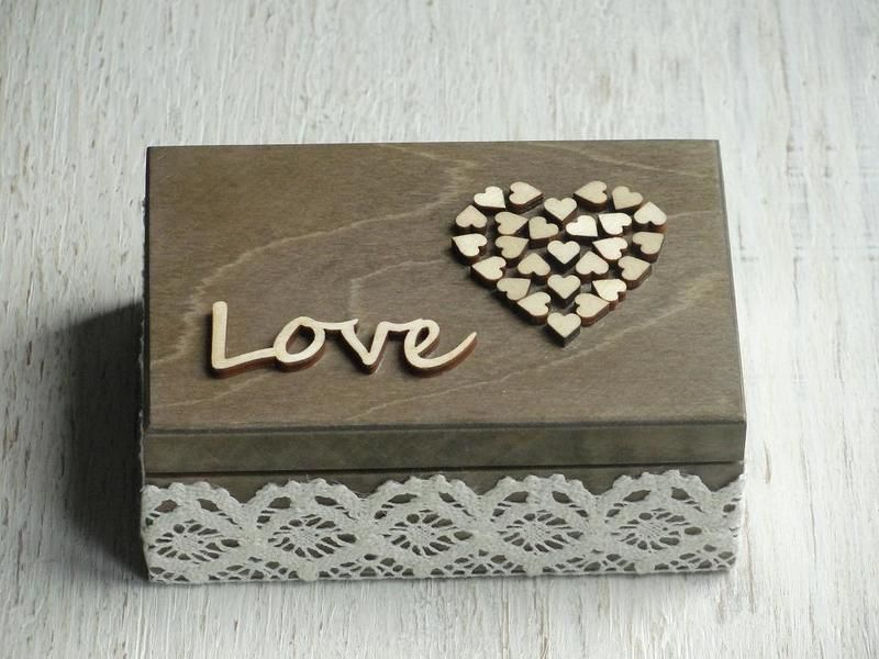 Box fr eheringe Ehering schatulle Ringschachtel aus Holz im rustic Look Ringbox die man zB