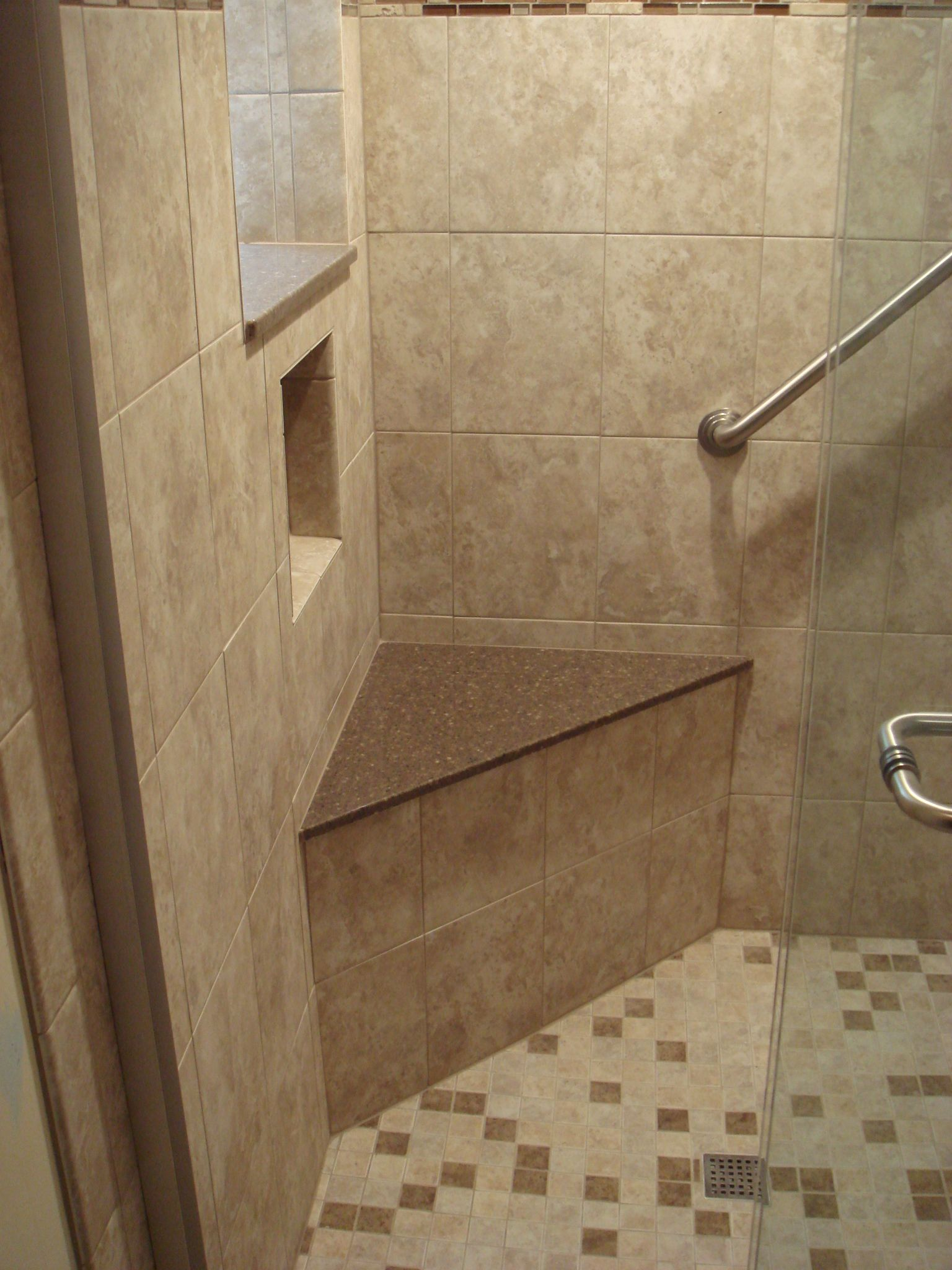 Shower Corner Seat Cubby Hole Shelf Grab Bar Corner Shower Bench Shower Bench Corner Shower