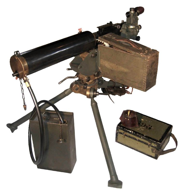 Browning Model 1917 water-cooled machine gun on an M1917 tripod. Note the leather box attached to the rear leg containing spare parts.