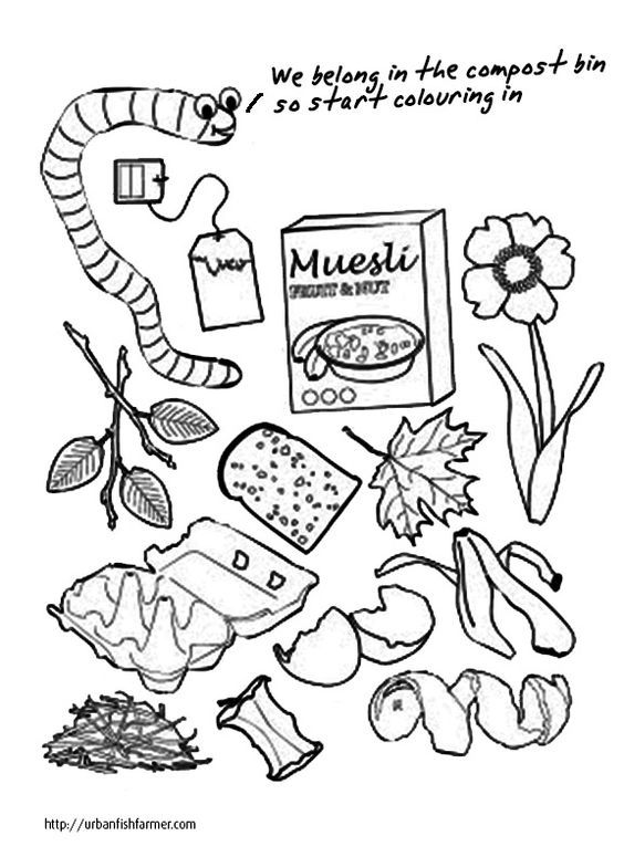 compost coloring page | Sustainable Living | Pinterest | Färben ...