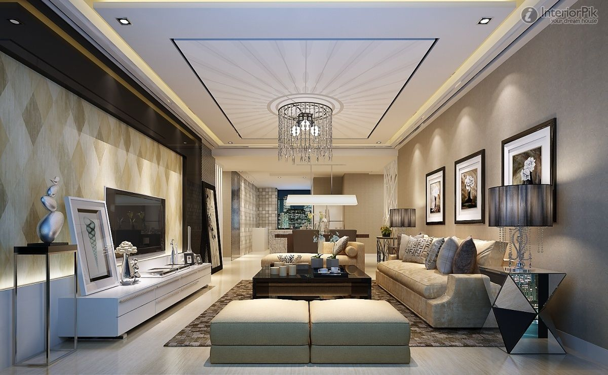 Ceiling design in living room shows more than enough about how to decorate a room