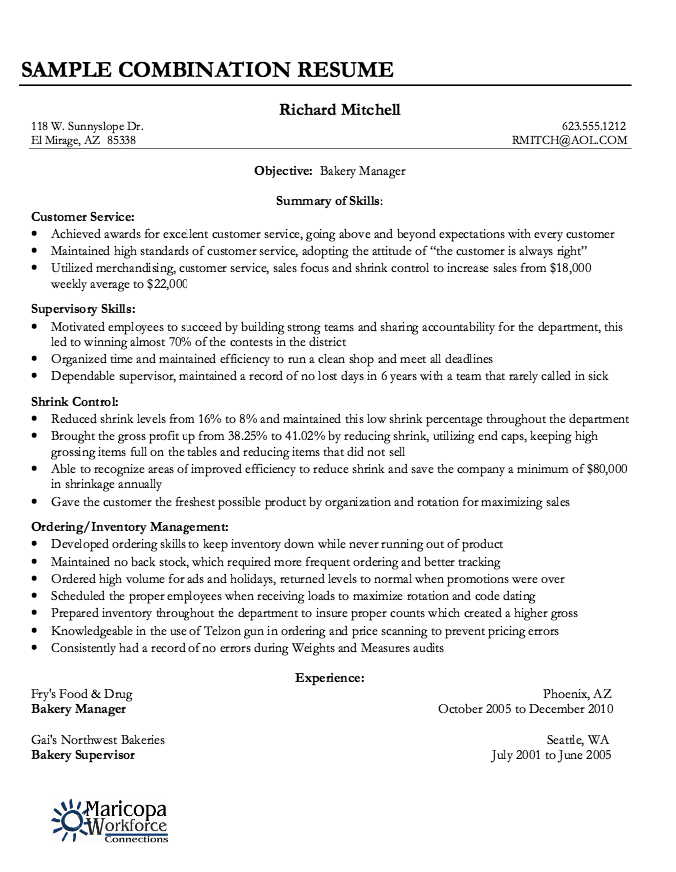 Combination Resume Sample Fascinating Example Of Combination Resume  Httpresumesdesignexampleof .