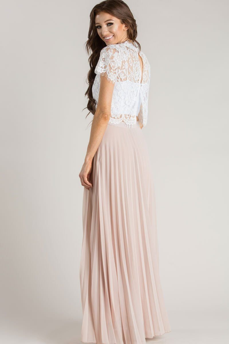 243eb064e Simone Beige Pleated Maxi Skirt in 2019 | Dresses | Pleated skirt ...