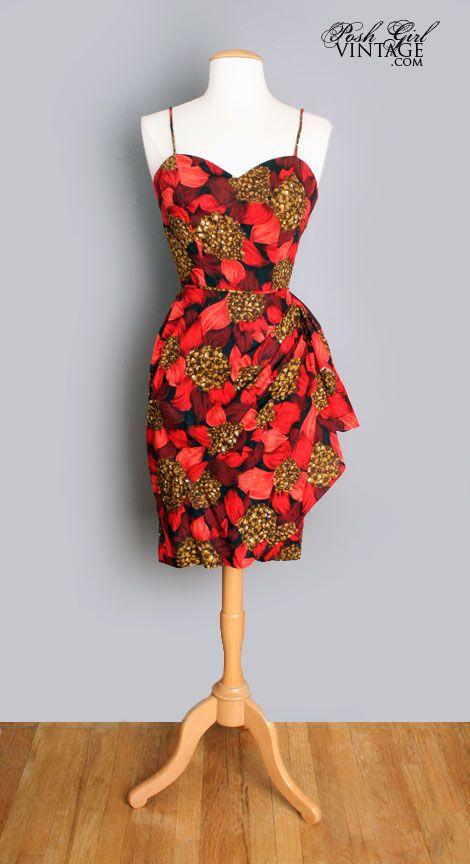 1950s Red Sexy Hawaiian Floral Sarong Dress Posh Girl