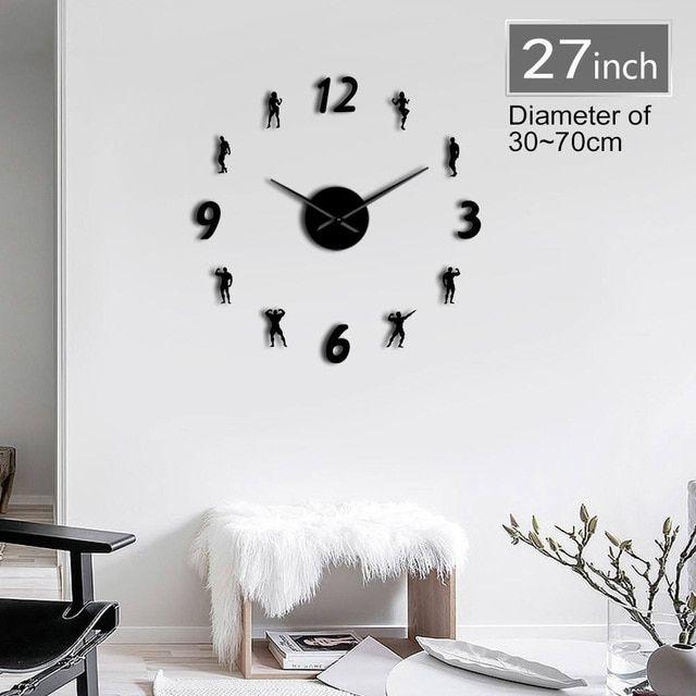 1piece gym diy wall clock modern keep fit bodybuilding lose weight