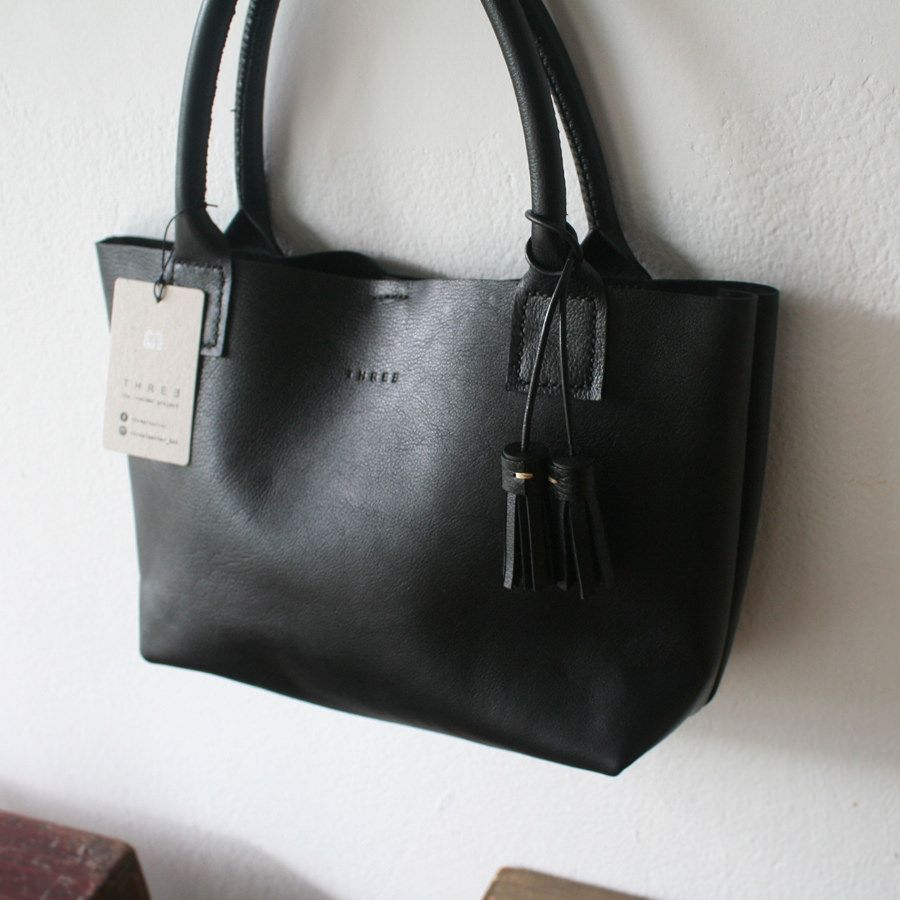 Small Black Leather Tote Bag I Baseball Stitched Handbag | Leather ...