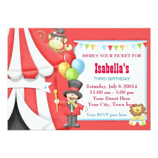 Carnival Circus Birthday Party Invitation  Carnival Birthday