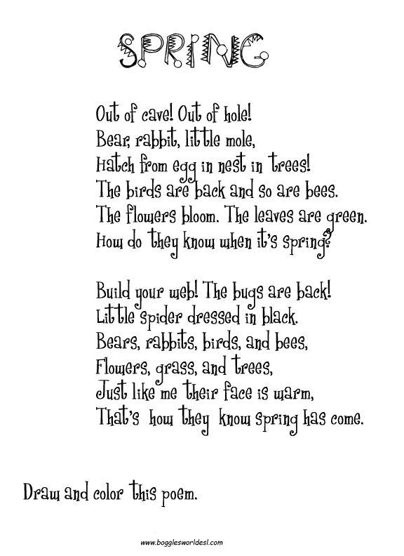 Short Spring Poem For Kids 576x792 | Poesia en ingles, Poemas en ...