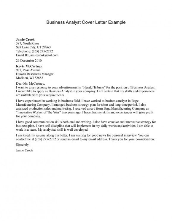 Analyst Cover Letter Example  Business Analyst Cover Letter