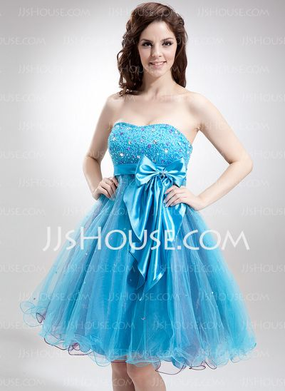 Homecoming Dresses - $128.99 - Empire Sweetheart Knee-Length Tulle Charmeuse Homecoming Dress With Beading Sequins (022016310) http://jjshouse.com/Empire-Sweetheart-Knee-Length-Tulle-Charmeuse-Homecoming-Dress-With-Beading-Sequins-022016310-g16310