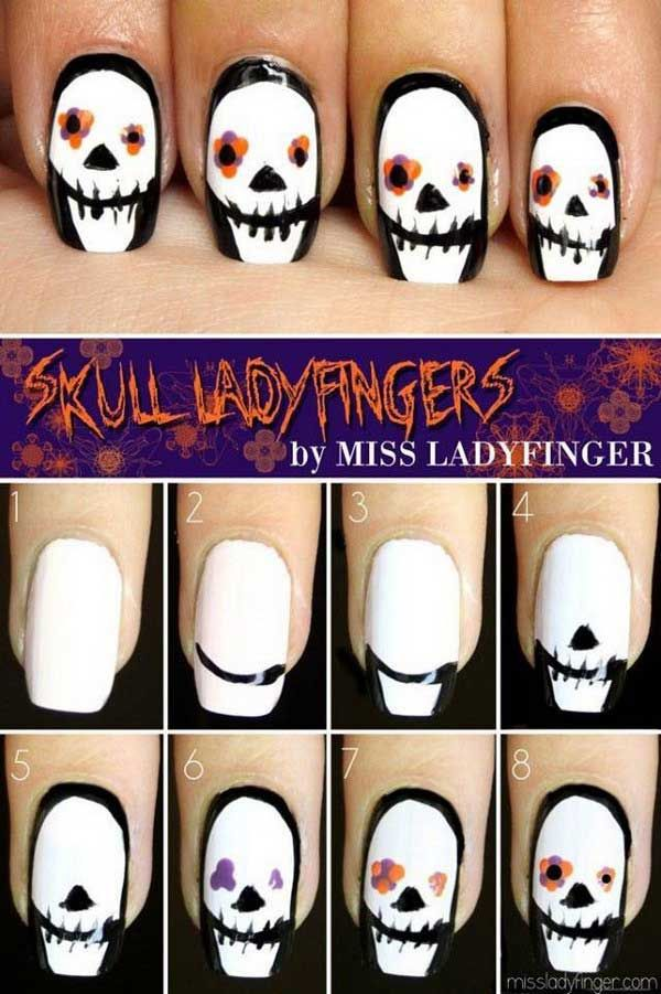 Easy Halloween Nail Art Tutorials 2018 Step By Step Pinterest