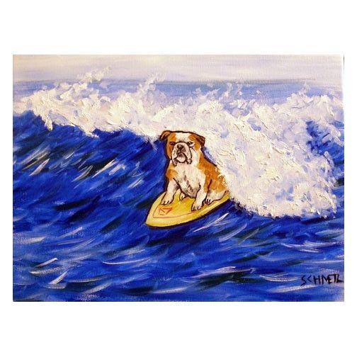 bulldog surfing dog 11x14  artist art PRINT impressionism animals dog new
