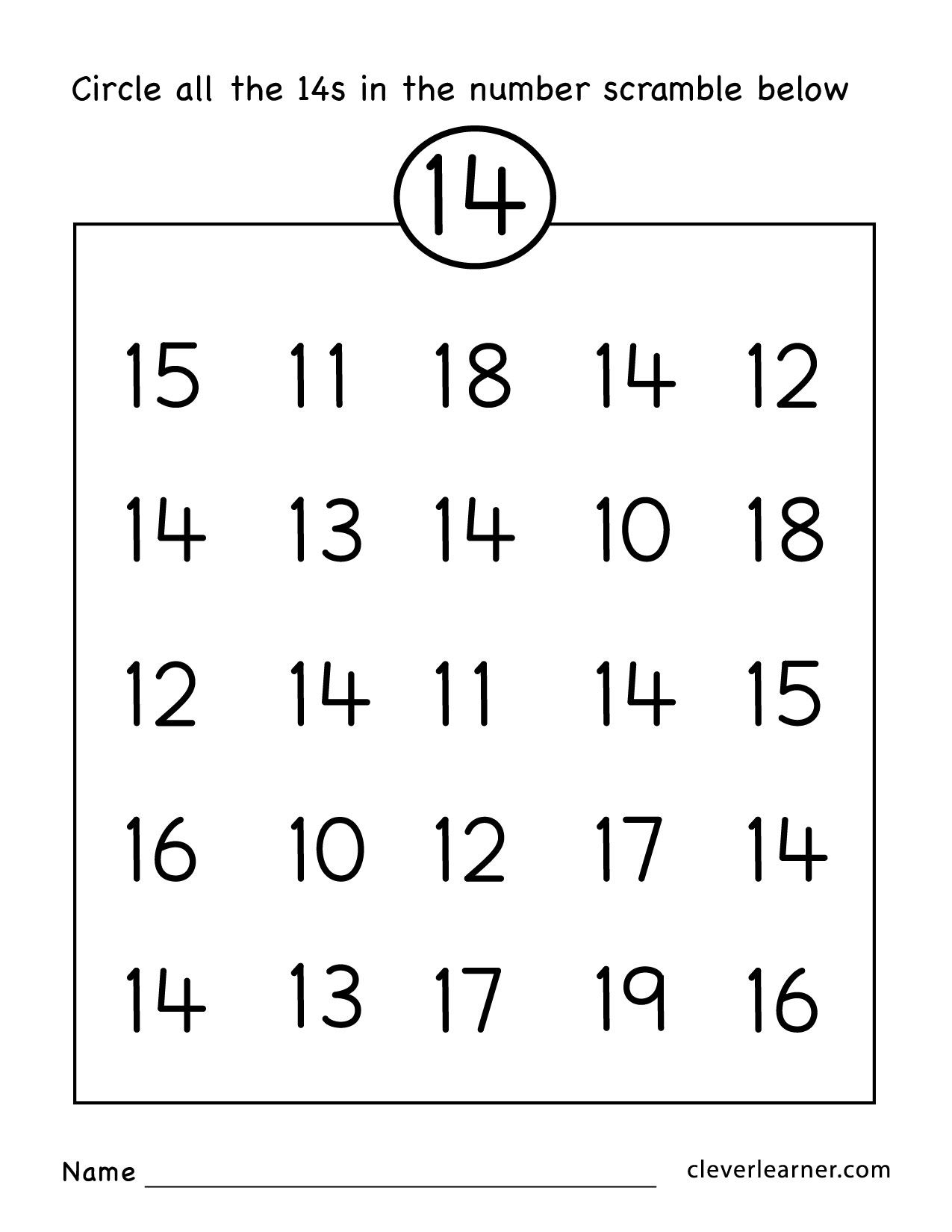 Free Number Fourteen Worksheets For Kindergarten