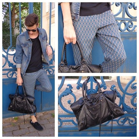 The pants and man bag only with a blazer