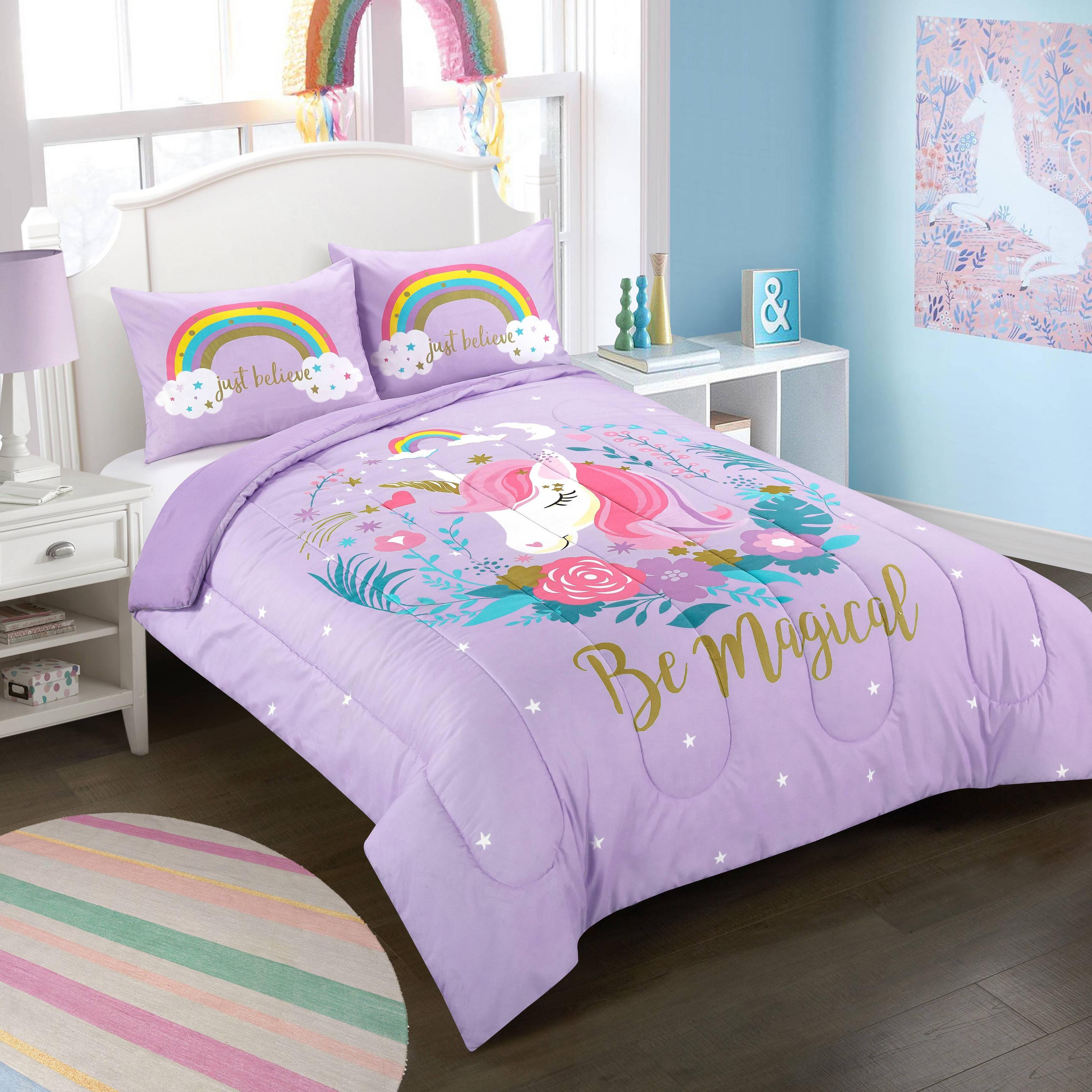 Heritage Club Panel Printed Unicorn Comforter Set Walmart Com Bed For Girls Room Unicorn Bed Set Girl Bedroom Decor