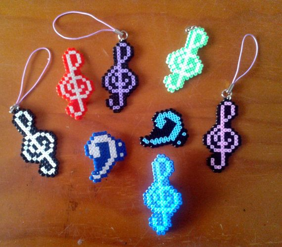 Treble Clef Keychains In Hama Beads Claves De Sol Y By