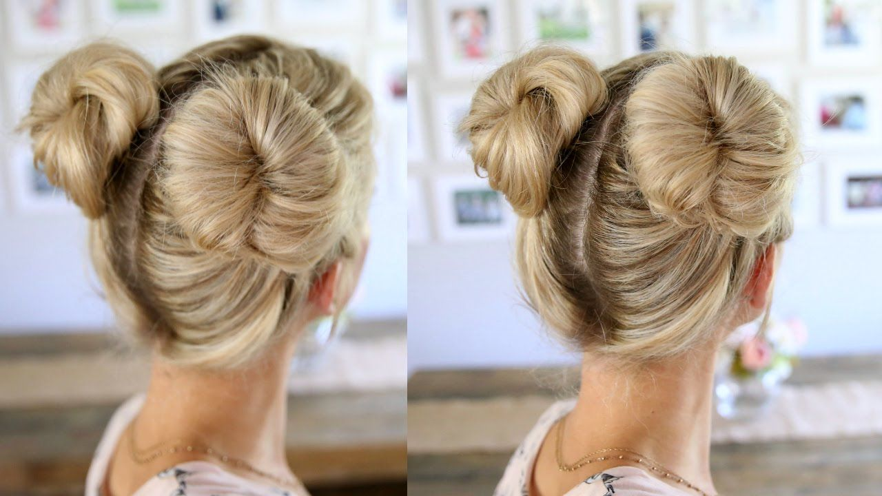 3 Easy Double Buns Space Buns For Thin Normal Thick Hair Thick Hair Styles Easy Hairstyles Long Thick Hair
