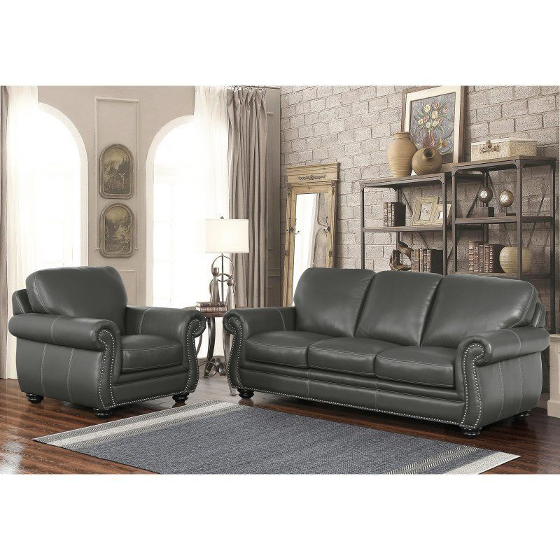 Abbyson dasher grey top grain leather sofa and armchair