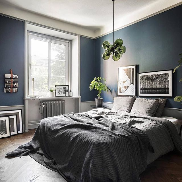 cozy blue black bedroom. LINK IN BIO! Now For Sale, Atlasgatan 1. Styling \u0026 Design  @scandinavianhomes. Dark BedroomsBedroom With Blue WallsDark Cozy Cozy Blue Black Bedroom A