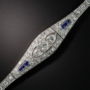 50387c90d9c1 Pulsera art decó de platino y diamantes con zafiros sintéticos ...