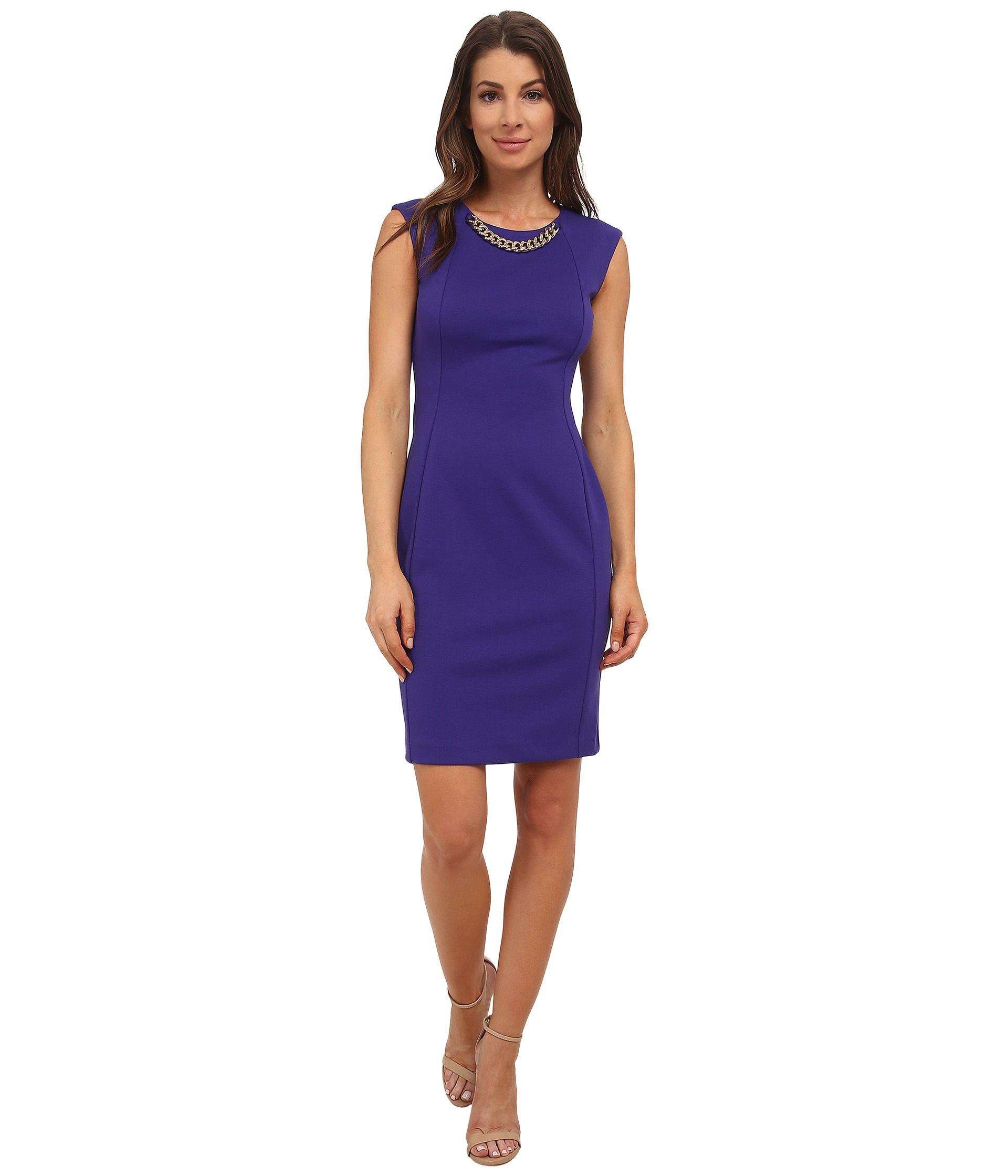 CALVIN KLEIN. Purple Chain-Link Ponte Sheath Dress. Taille 40. RCK ...
