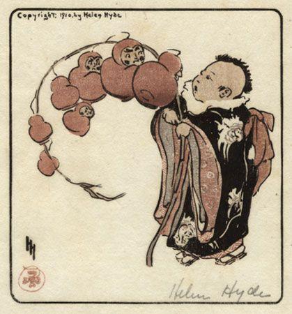 Helen Hyde  The Daruma Branch, color woodcut, 1910.