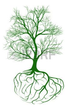 tree life: A tree growing from rooots shaped like a human brain ...