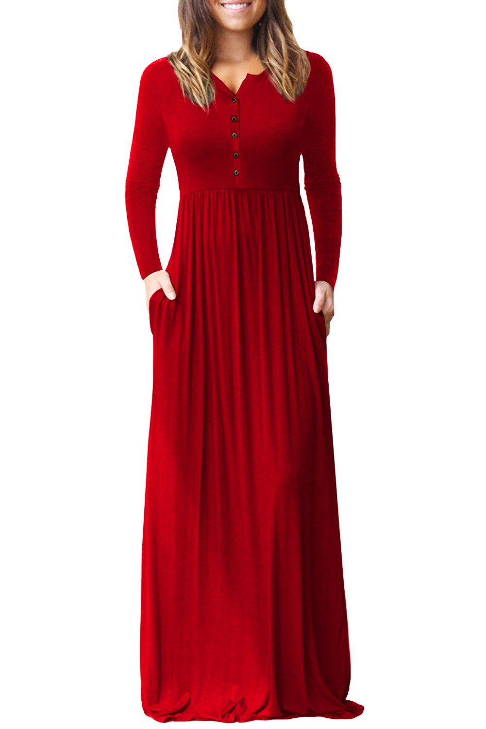 5dacfd23723 Robe Longue Rouge Bouton Decontracte Manches Longues Pas Cher  www.modebuy.com  Modebuy