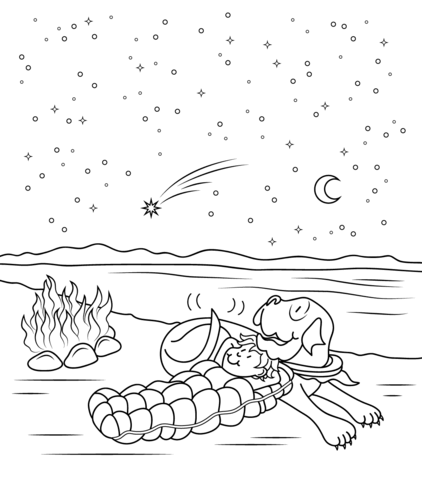 Henry And Mudge The Starry Night Coloring Page