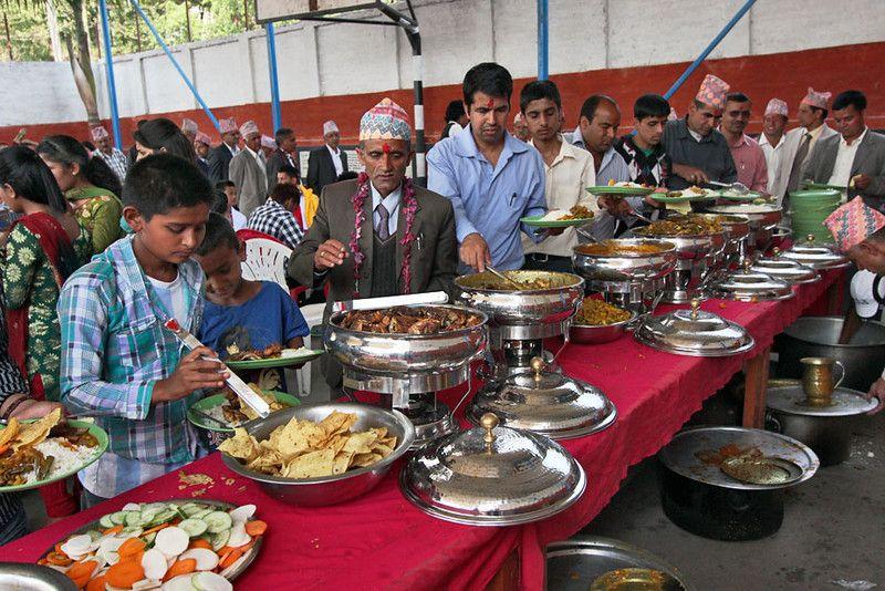 Photo Buffet Line At Wedding Chitwan Nepal Peach Wedding Invitations Catering Wedding Catering