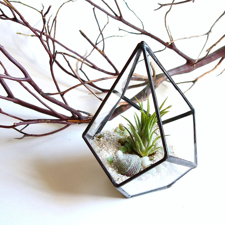 Geometric Terrarium Pod, Air Plant Glass Terrarium, Stained Glass Planter.  $34.00, via
