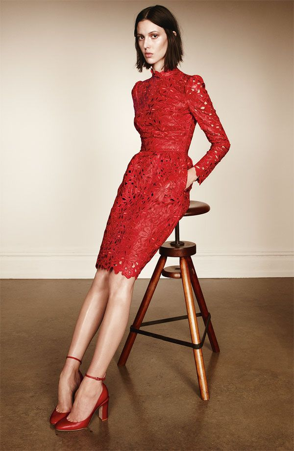 Laser Cut Leather Dress Valentino