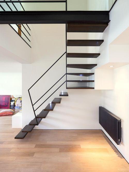 am nagement d 39 un escalier claire voie contemporain en l de taille moyenne avec des marches en. Black Bedroom Furniture Sets. Home Design Ideas