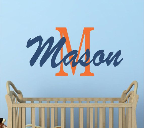 Boys decals name wall decal baby name wall decals nursery decor find this pin and more on lucy lews vinyl