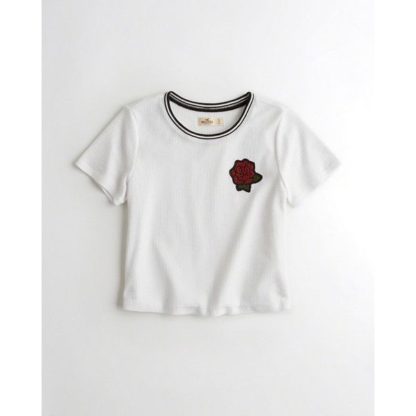 30c86709bb24 Hollister Sequin Embroidered Crop T-Shirt (73 AED) ❤ liked on Polyvore  featuring