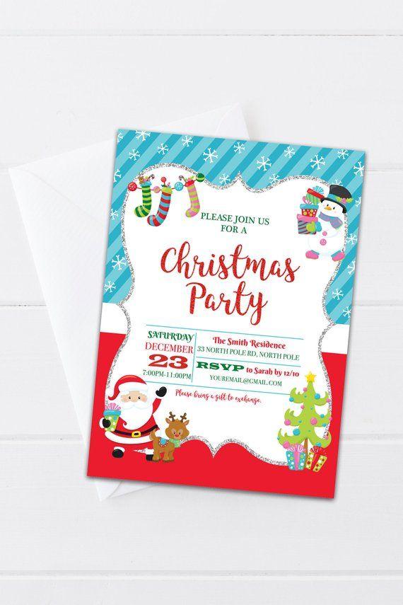 Kids Christmas Party Digital Invitation - Christmas with Santa