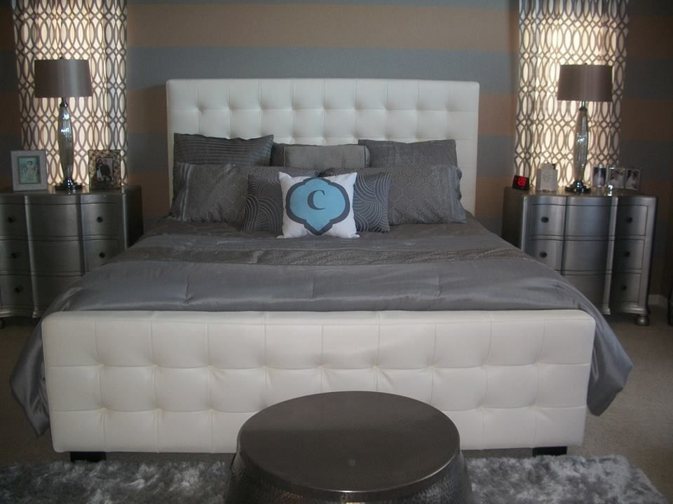 Our West Side Bed, Indochine Rug, and Geo Panels in Steel add to Facebook fan Denise Cardona's bedroom.