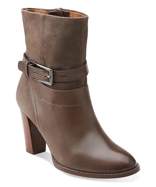Womens Boots Clarks Kacia Garnet Dark Grey Leather/Grey Suede