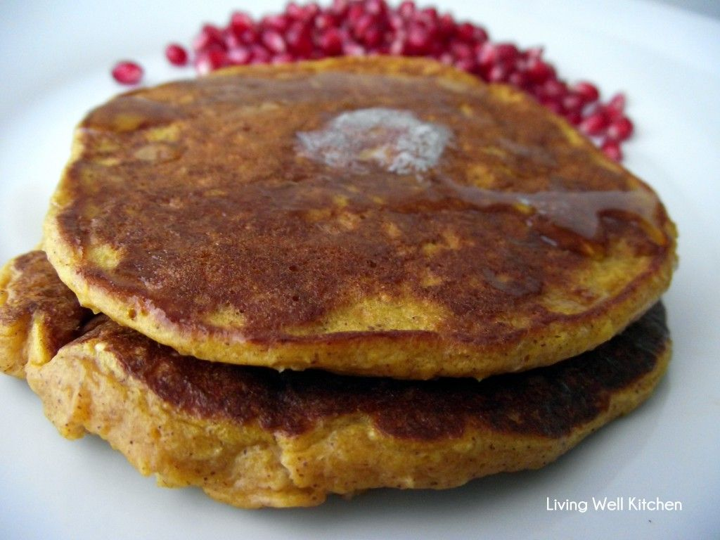 Pumpkin Protein Pancakes from Living Well Kitchen - 240 calories and 17 g protein! Perfect for Halloween or any time... they are sooo delicious