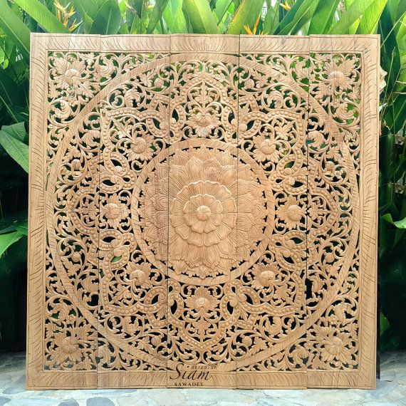 Natural Carved Wood Wall Art Panel. Bed Headboard. Reclaim Teak Wall  Plaque. Decorated - Thai Wooden Wall Panel. Wall Hanging. Floral Wood Carved Wall