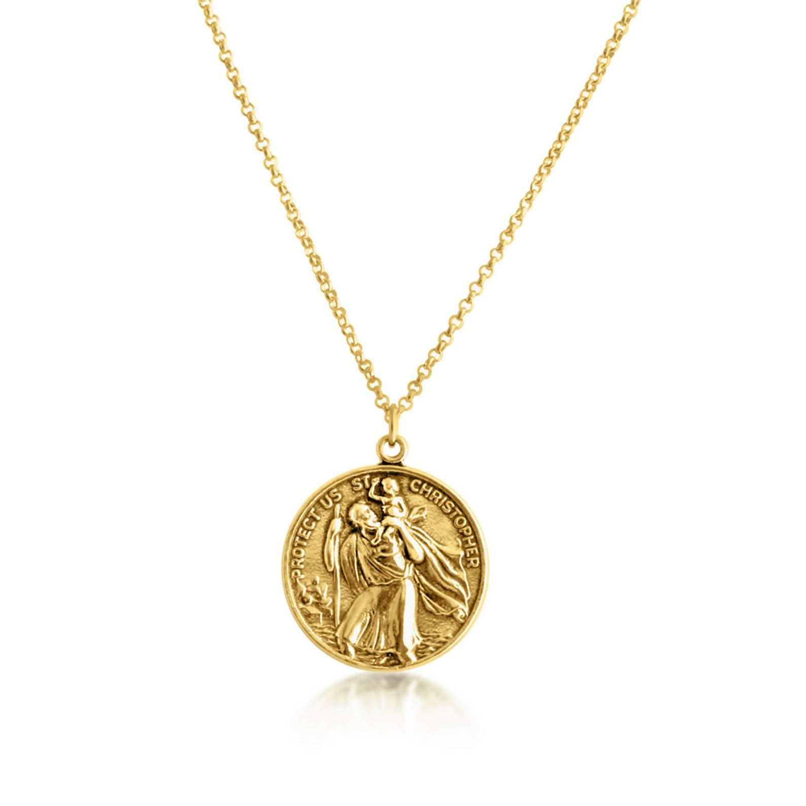 St Christopher Protector Of Travelers Medallion Pendant Etsy