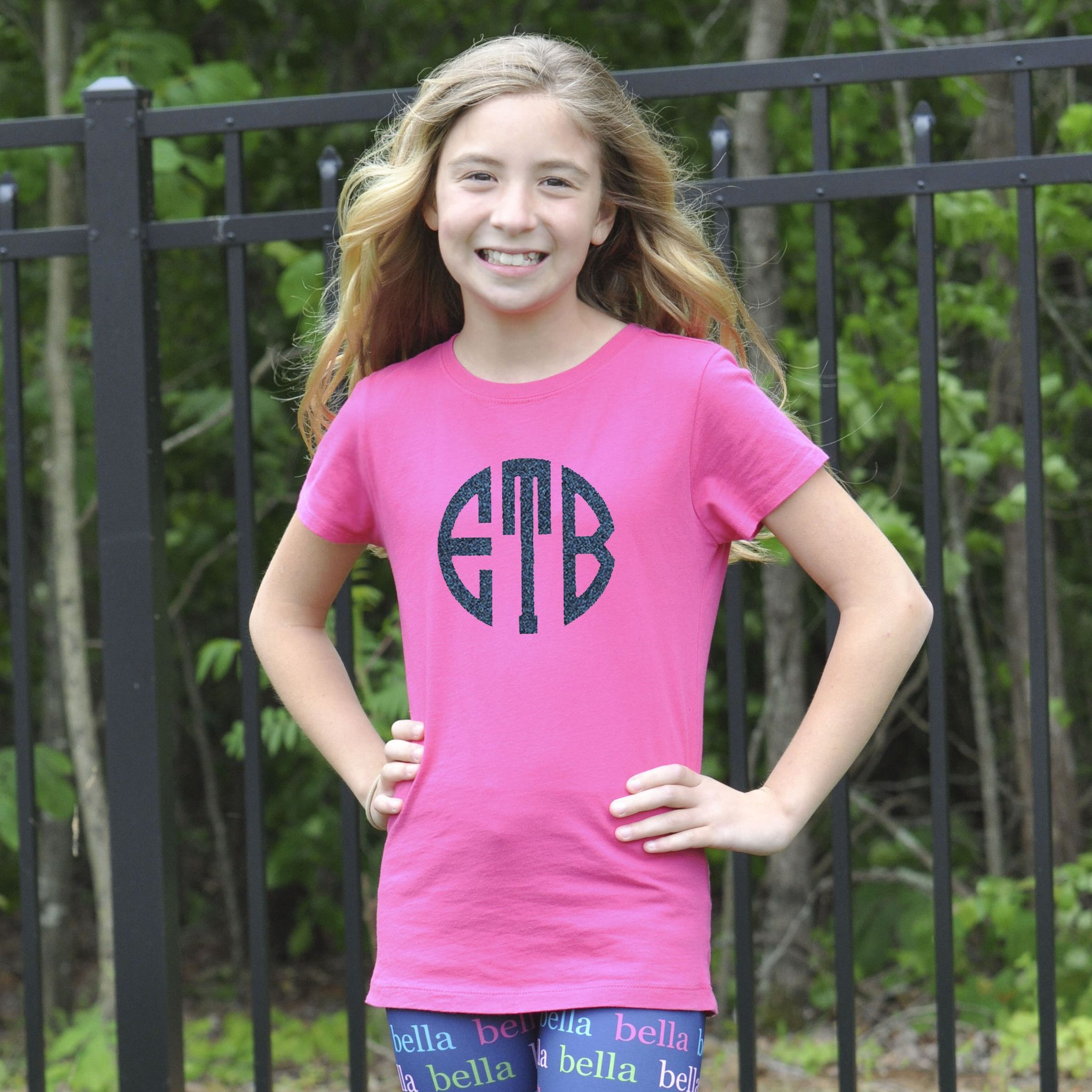 Design your own t-shirt hot pink - Girls Personalized Hot Pink Initials Tee You Design Your Look